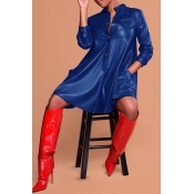 Lovely Fashion Long Sleeves Blue PU Knee Length Dress