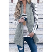 Lovely Casual Grey Knitting Long Vests