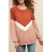 Lovely Casual Long Sleeves Patchwork Brick Red Swe
