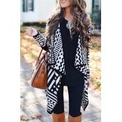 Lovely Casual Geometric Black Cardigan Sweaters