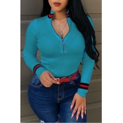 Lovely Casual Bust Zippers Skyblue Sweaters