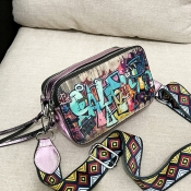 Lovely Casual Printed Pink PU Messenger Bag