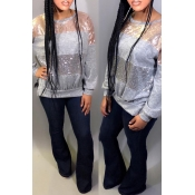 Lovely Trendy Patchwork Grey Hoodies