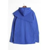 Lovely Trendy Asymmetrical Blue Cotton Hoodies