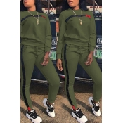 Lovely Casual Long Sleeve Patchwork Army Green Twilled Satin Two-piece Pants Set