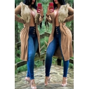 Lovely Casual  Long Sleeves Brown Jacket