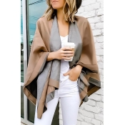 Lovely  Chic Cape Design Khaki Cardigans