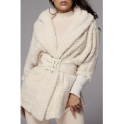 Lovely Casual Hooded Collar Creamy White Two-piece