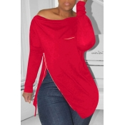 Lovely Casual Irregular Zipper Red Hoodies