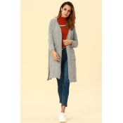 Lovely Casual Pockets Grey Blending Cardigan Sweat