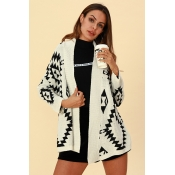Lovely Casual Geometric Printed Creamy White Cardi
