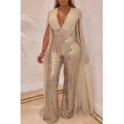 Lovely Trendy Sequined Apricot Blending One-piece