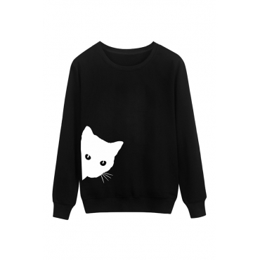 Lovely Casual Cat Head Printing Black Cotton Hoodies