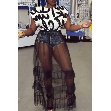 Lovely Casual Frill Design Black Polyester Gauze Skirts