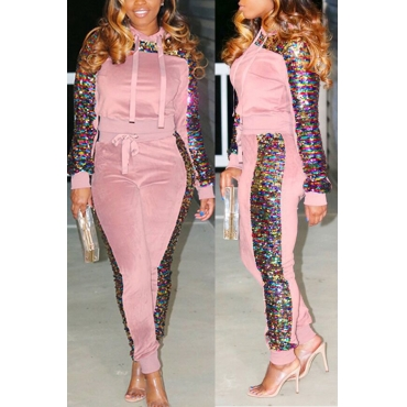 Lovely Casual Sequined Decorative hooded Pink  Two-piece Pants Set