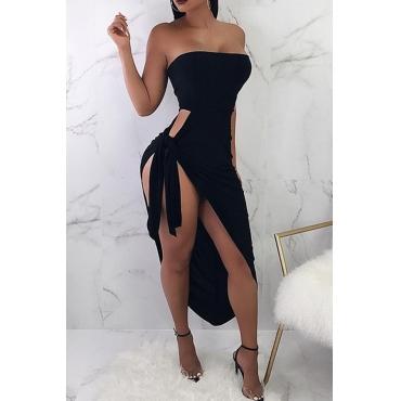 Lovely Sexy Side Fork of Irregular Black Ankle Length Sheath Dress