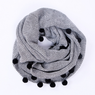 Lovely Fashion Maomao Ball Decorative Black Scarves