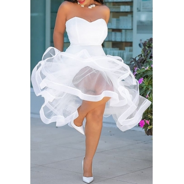 Lovely Sweet Net Yarn Perspective White Twilled Satin Bubble Dress