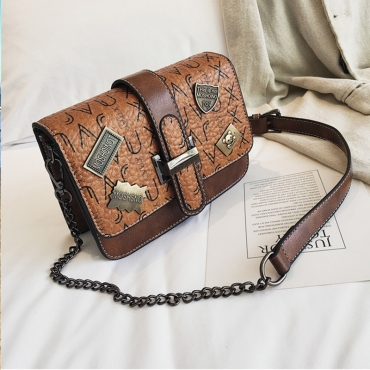 Lovely Retro Letters Decorative Brown PU Messenger