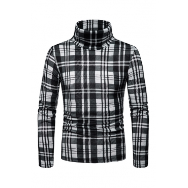 Lovely Fashionable Plaids Long Sleeves Black Sweaters