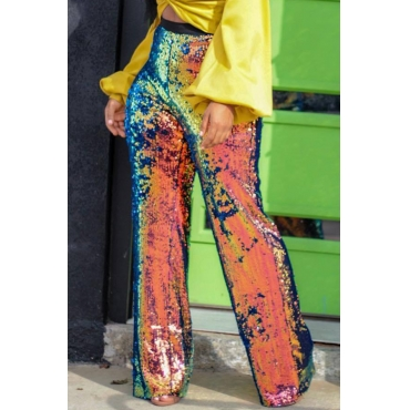 Lovely Euramerican Sequined Design Blending Loose Pants