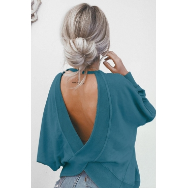 Lovely Fashion Round Neck Back Hollow-out Blue Knitting Hoodies