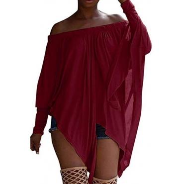Lovely Casual Long Sleeves Wine Red Blending Bat T-shirt