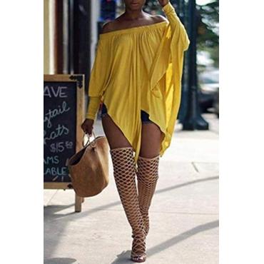 Lovely Casual Long Sleeves Yellow Blending Bat T-shirt