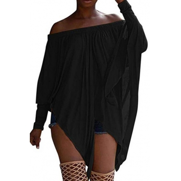 Lovely Casual Long Sleeves Black Blending Bat T-shirt