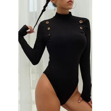 Lovely Casual Multi Holes Design Black Bodysuit
