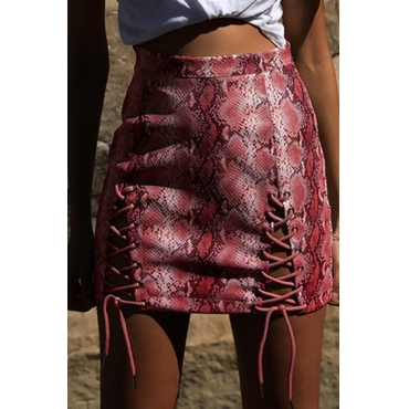 Lovely Sexy Snakeskin Grain Lace-up Red PU Sheath Skirts