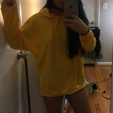 Lovely Casual Rose Print Yellow Cotton Hoodies