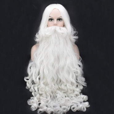 Lovely White Long Curly Hair Wigs+Santa Claus Long Beard