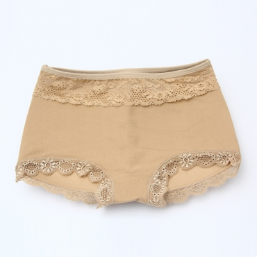 Lovely Casual Lace Edge Apricot Panties