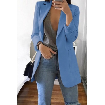 Lovely Casual Long Sleeves Baby Blue Coat