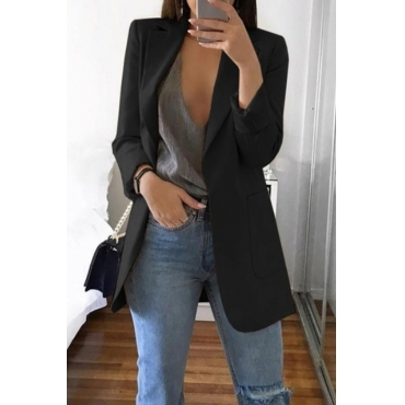 Lovely Casual Long Sleeves Black Coat