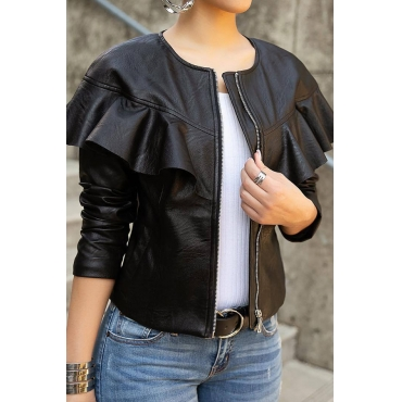 Lovely Casual Long Sleeves Falbala Design Black PU Coat