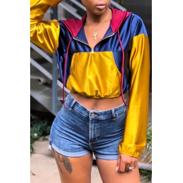 Lovely Casual Patchwork Yellow Hoodies