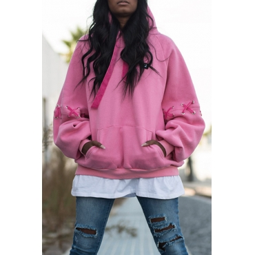 Lovely Casual Draw String Light Pink Cotton Hoodies