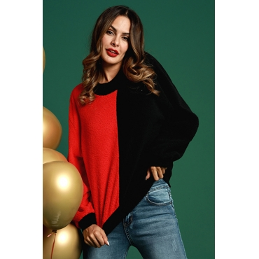 Lovely Casual Color Lump Patchwork Red Cotton Hoodies