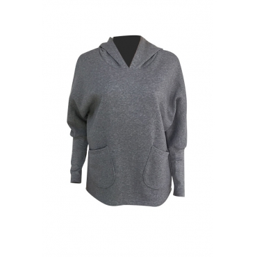 Lovely Casual Asymmetrical Grey Cotton Hoodies