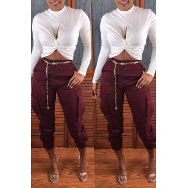 Lovely Casual Pocket Wine Red Pants
