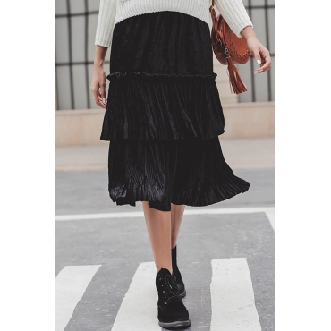 Lovely Sweet Black Mid Calf Pleated Skirts