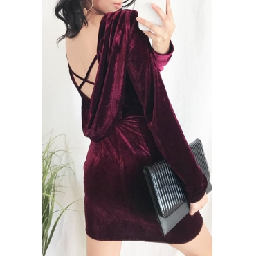 Lovely Sexy Long Sleeves Backless Red Mini Dress