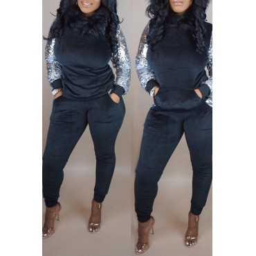 Lovely Casual Sequined Patchwork Black Two-piece Pants Set