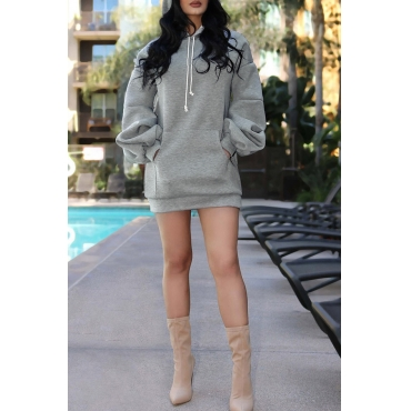 Lovely Casual Puffed Sleeves Grey Hoodies