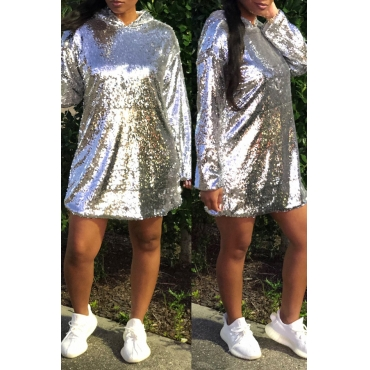 Lovely Fashion Sequined Silver Mini Dress