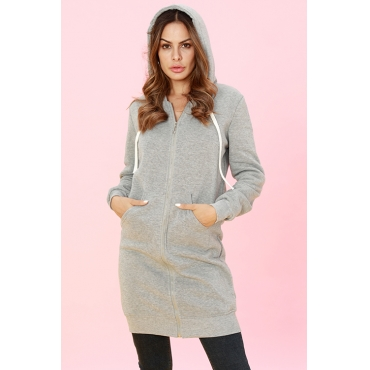 Lovely Casual Long Sleeves Light Grey Long Coat