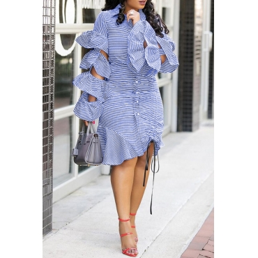 Lovely Chic Striped Flounce Design Baby Blue Knee Length  Dress