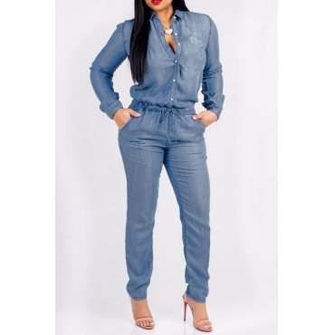 Lovely Fashion Buttons Design  Blue Denim One-piece Jumpsuits